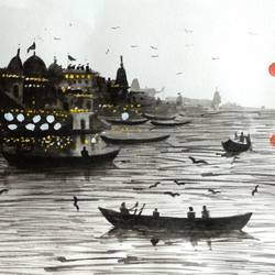 varanasi ghat , 11 x 6 inch, girish chandra vidyaratna,landscape paintings,paintings for living room,paintings,paintings for dining room,paintings for bedroom,paintings for office,paintings for kids room,paintings for hotel,paintings for kitchen,paper,watercolor,11x6inch,GAL0363320
