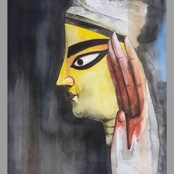 goddess durga o2, 11 x 16 inch, amit banerjee,11x16inch,brustro watercolor paper,paintings,abstract paintings,figurative paintings,modern art paintings,religious paintings,portrait paintings,photorealism,realism paintings,paintings for dining room,paintings for living room,paintings for bedroom,paintings for office,paintings for hotel,paintings for school,watercolor,GAL0848133202