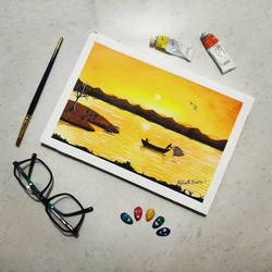 beautiful sunset, 7 x 10 inch, abhineet sharma,7x10inch,handmade paper,paintings,landscape paintings,watercolor,GAL0873833205