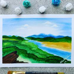 landscape art greenery, 7 x 10 inch, abhineet sharma,7x10inch,handmade paper,abstract paintings,landscape paintings,nature paintings | scenery paintings,watercolor,GAL0873833207