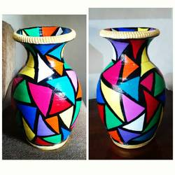 hand painted clay pot, 7 x 4 inch, anjana powell,7x4inch,acrylic glass,handicrafts,vases,acrylic color,ceramic,GAL02138833214