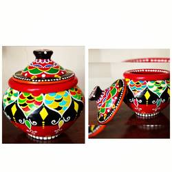 hand painted clay pot, 6 x 7 inch, anjana powell,6x7inch,acrylic glass,handicrafts,vases,acrylic color,ceramic,GAL02138833215
