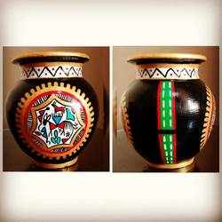 hand painted clay pot, 5 x 7 inch, anjana powell,5x7inch,acrylic glass,handicrafts,vases,acrylic color,ceramic,GAL02138833216