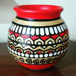 hand painted clay pot, 6 x 7 inch, anjana powell,6x7inch,acrylic glass,handicrafts,vases,acrylic color,ceramic,GAL02138833217