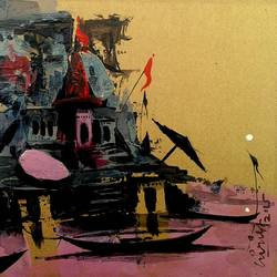 varanasi ghat - 28, 7 x 6 inch, girish chandra vidyaratna,paintings for bedroom,paper,acrylic color,7x6inch,GAL0363322