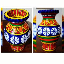 hand painted clay pot, 4 x 6 inch, anjana powell,4x6inch,acrylic glass,vases,acrylic color,ceramic,GAL02138833220