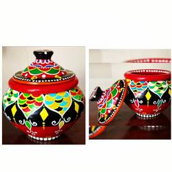 hand painted clay pot with lid, 5 x 7 inch, anjana powell,5x7inch,acrylic glass,handicrafts,pottery,acrylic color,ceramic,GAL02138833221