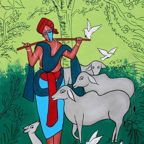 cowman, 18 x 30 inch, chetan katigar,18x30inch,canvas,paintings,abstract paintings,wildlife paintings,figurative paintings,flower paintings,folk art paintings,cityscape paintings,landscape paintings,modern art paintings,multi piece paintings,conceptual paintings,religious paintings,still life paintings,portrait paintings,nature paintings | scenery paintings,abstract expressionism paintings,art deco paintings,cubism paintings,expressionism paintings,impressionist paintings,contemporary paintings,love paintings,paintings for dining room,paintings for living room,paintings for bedroom,paintings for office,paintings for bathroom,paintings for kids room,paintings for kitchen,paintings for school,acrylic color,GAL026633230