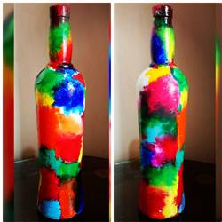 hand painted glass bottle, 4 x 11 inch, anjana powell,4x11inch,acrylic glass,handicrafts,vases,acrylic color,glass,GAL02138833235