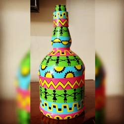 hand painted glass bottle, 4 x 10 inch, anjana powell,4x10inch,acrylic glass,handicrafts,vases,acrylic color,glass,GAL02138833236