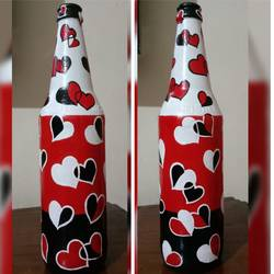 hand painted glass bottle, 4 x 11 inch, anjana powell,4x11inch,acrylic glass,handicrafts,vases,acrylic color,glass,GAL02138833237