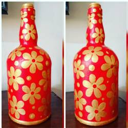 hand painted glass bottle (single bottle), 4 x 10 inch, anjana powell,4x10inch,acrylic glass,handicrafts,vases,acrylic color,glass,GAL02138833238