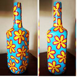 hand painted glass bottle (single bottle), 4 x 11 inch, anjana powell,4x11inch,acrylic glass,handicrafts,vases,acrylic color,glass,GAL02138833239