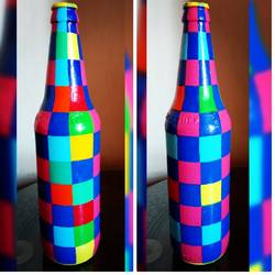 hand painted glass bottle (single bottle), 4 x 11 inch, anjana powell,4x11inch,acrylic glass,handicrafts,vases,acrylic color,glass,GAL02138833240