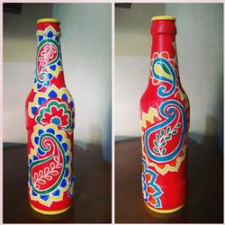 hand painted glass bottle (single bottle), 4 x 10 inch, anjana powell,4x10inch,acrylic glass,vases,acrylic color,glass,GAL02138833241