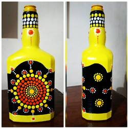 hand painted glass bottle, 4 x 11 inch, anjana powell,4x11inch,acrylic glass,vases,acrylic color,glass,GAL02138833243