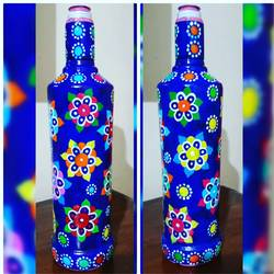 hand painted glass bottle (single bottle), 4 x 12 inch, anjana powell,4x12inch,acrylic glass,handicrafts,vases,acrylic color,glass,GAL02138833245