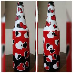 hand painted glass bottle (single bottle), 4 x 11 inch, anjana powell,4x11inch,acrylic glass,handicrafts,vases,acrylic color,glass,GAL02138833246