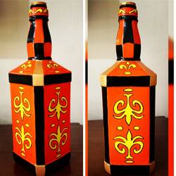 hand painted glass bottle (single bottle), 4 x 11 inch, anjana powell,4x11inch,acrylic glass,handicrafts,vases,acrylic color,glass,GAL02138833247