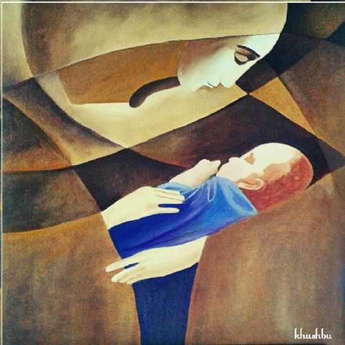 indescribable love, 23 x 26 inch, khushbu soni,conceptual paintings,paintings for living room,canvas board,oil,23x26inch,GAL012263325