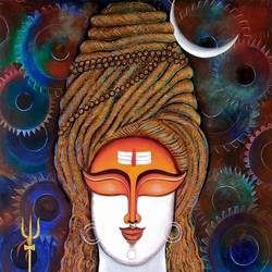 hara, 30 x 48 inch, susmita mandal,30x48inch,canvas,paintings,lord shiva paintings,paintings for living room,paintings for bedroom,acrylic color,GAL01940533257