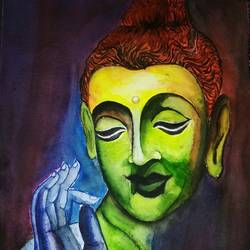 god buddha, 12 x 15 inch, siuli mandal,12x15inch,handmade paper,paintings,buddha paintings,religious paintings,portrait paintings,paintings for dining room,paintings for living room,paintings for office,paintings for hotel,paintings for hospital,acrylic color,fabric,watercolor,GAL02130433264