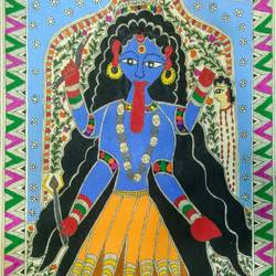 goddess 'maa kali', 21 x 13 inch, nimisha kumari,21x13inch,handmade paper,paintings,folk art paintings,religious paintings,madhubani paintings | madhubani art,paintings for living room,paintings for office,paintings for hotel,acrylic color,mixed media,paper,GAL02122733267