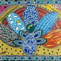 pancha tattva, 18 x 14 inch, akanksha sinha,18x14inch,canvas,paintings,wildlife paintings,folk art paintings,madhubani paintings | madhubani art,paintings for dining room,paintings for living room,paintings for bedroom,paintings for office,paintings for kids room,paintings for hotel,paintings for school,paintings for hospital,acrylic color,pen color,GAL01104133272