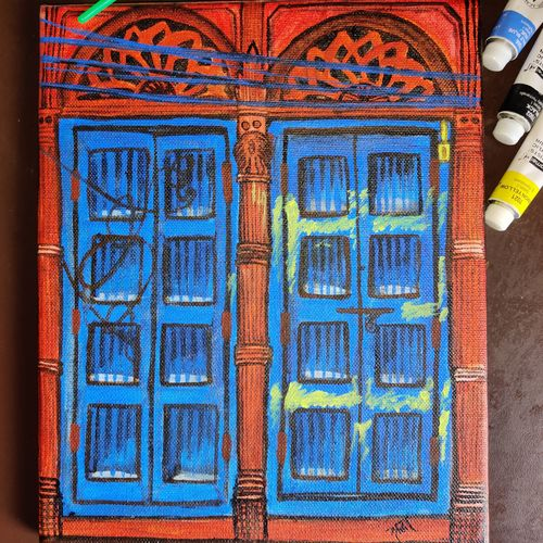 dilli-6 door painting, 8 x 10 inch, shraddha goyal,8x10inch,canvas,paintings,cityscape paintings,illustration paintings,minimalist paintings,photorealism paintings,photorealism,realism paintings,street art,realistic paintings,miniature painting.,acrylic color,fabric,wood,GAL02146133275