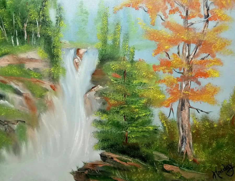 forest water fall, 18 x 14 inch, hriday  das,nature paintings,paintings for living room,canvas,oil,18x14inch,GAL09833328Nature,environment,Beauty,scenery,greenery,trees,water,beautiful,waterfall