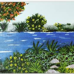river bank, 11 x 17 inch, shrimathi chakravarthy,11x17inch,canvas,paintings,landscape paintings,paintings for living room,paintings for living room,acrylic color,GAL02146333280