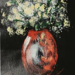 flower vase, 12 x 17 inch, shrimathi chakravarthy,12x17inch,canvas,paintings,flower paintings,paintings for living room,paintings for bedroom,acrylic color,GAL02146333281