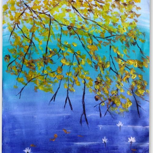autumn leaves, 12 x 17 inch, shrimathi chakravarthy,12x17inch,canvas,paintings,landscape paintings,paintings for living room,paintings for bedroom,acrylic color,GAL02146333282