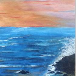 white foam of waves, 12 x 17 inch, shrimathi chakravarthy,12x17inch,canvas,paintings,landscape paintings,paintings for living room,paintings for bedroom,acrylic color,GAL02146333284