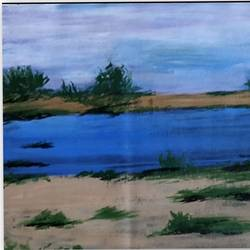 serene river, 12 x 17 inch, shrimathi chakravarthy,12x17inch,canvas,paintings,landscape paintings,paintings for living room,paintings for bedroom,acrylic color,GAL02146333286