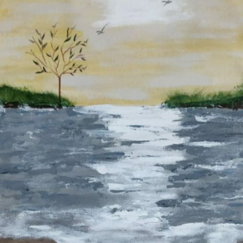reflection, 12 x 17 inch, shrimathi chakravarthy,12x17inch,canvas,paintings,landscape paintings,paintings for dining room,paintings for living room,paintings for bedroom,acrylic color,GAL02146333288