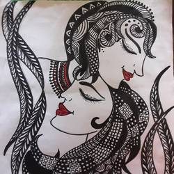 doodle art, 9 x 12 inch, shruti tandon,9x12inch,drawing paper,paintings for living room,abstract drawings,paintings for living room,pencil color,graphite pencil,GAL02149733297