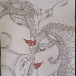 doodle art, 9 x 12 inch, shruti tandon,9x12inch,paper,paintings for living room,abstract drawings,paintings for living room,pencil color,graphite pencil,GAL02149733299