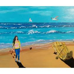 tropical beach , 24 x 18 inch, subhash gijare,landscape paintings,paintings for living room,canvas,acrylic color,24x18inch,GAL0138333