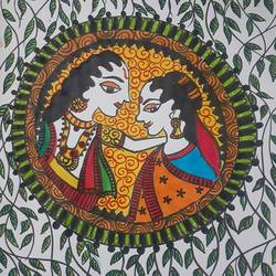 madhubani painting, 9 x 12 inch, shruti tandon,9x12inch,drawing paper,folk art paintings,paintings for living room,paintings for living room,pen color,GAL02149733303