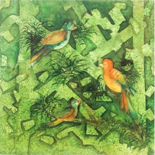 bird with leaves, 27 x 27 inch, kajal more,27x27inch,canvas,paintings,abstract paintings,contemporary paintings,paintings for dining room,paintings for living room,paintings for dining room,paintings for living room,acrylic color,GAL0556433306