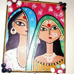 tribal painting, 8 x 10 inch, shambhavi mishra mishra,8x10inch,canvas board,paintings,figurative paintings,paintings for dining room,paintings for living room,paintings for bedroom,paintings for hotel,acrylic color,GAL01966833308