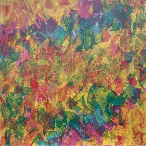 blooming soul, 22 x 15 inch, seema kaushik,22x15inch,thick paper,paintings,abstract paintings,paintings for living room,paintings for bedroom,paintings for office,paintings for kids room,paintings for hotel,paintings for school,paintings for hospital,acrylic color,GAL02155433324