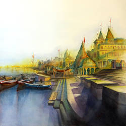 varanasi ghat 1, 30 x 22 inch, shaveta choudhary,cityscape paintings,paintings for living room,horizontal,renaissance watercolor paper,watercolor,30x22inch,GAL012413333