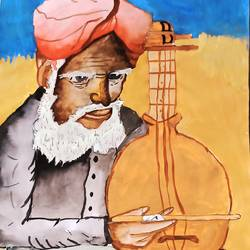 folk musician, 16 x 15 inch, subham roy,16x15inch,thick paper,paintings,folk art paintings,paintings for living room,paintings for living room,mixed media,GAL01992533330