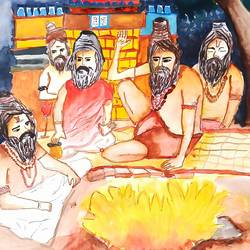 hindu rituals, 16 x 15 inch, subham roy,16x15inch,thick paper,drawings,figurative drawings,paintings for dining room,watercolor,GAL01992533334
