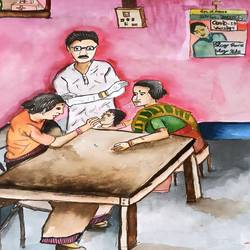 covid19 vaccination, 16 x 15 inch, subham roy,16x15inch,thick paper,paintings,modern art paintings,paintings for hospital,watercolor,GAL01992533337
