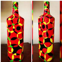 hand painted glass bottle (single bottle), 4 x 12 inch, anjana powell,4x12inch,acrylic glass,handicrafts,vases,acrylic color,GAL02138833339