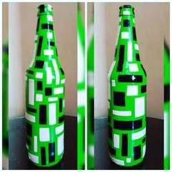hand painted glass bottle (single bottle), 4 x 10 inch, anjana powell,4x10inch,acrylic glass,handicrafts,vases,acrylic color,ceramic,GAL02138833341