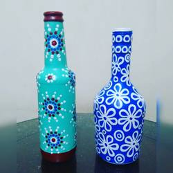 hand painted glass bottle  combo offer, 4 x 9 inch, anjana powell,4x9inch,acrylic glass,handicrafts,vases,acrylic color,GAL02138833343